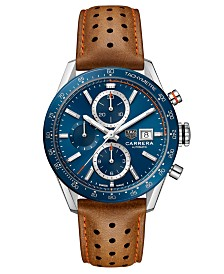 TAG Heuer Men's Swiss Automatic Chronograph Carrera Brown Perforated Leather Strap Watch 41mm