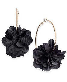 I.N.C. Rose-Gold Tone or Gold-Tone Fabric Flower Hoop Earrings, Created for Macy's
