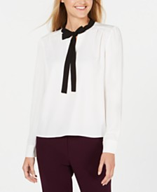 Calvin Klein Bow-Neck Long-Sleeve Top