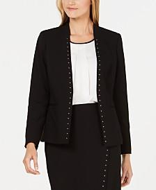 Calvin Klein Studded Open-Front Blazer