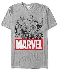 Marvel Men's Comic Collection Line Art Group Shot Short Sleeve T-Shirt