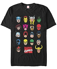 Marvel Men's Comic Collection Classic Head Shots Short Sleeve T-Shirt