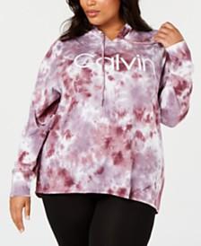 Calvin Klein Plus Size Sunburst Tie-Dyed Logo Hoodie Top