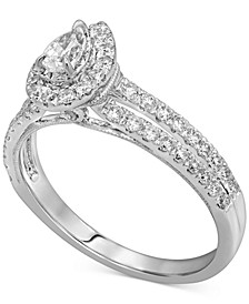Diamond Pear Halo Engagement Ring (3/4 ct. t.w.) in 14k White Gold