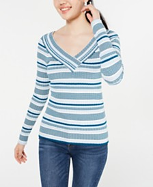 Freshman Juniors' V-Neck Striped Sweater