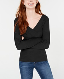 Freshman Juniors' V-Neck Ribbed Sweater