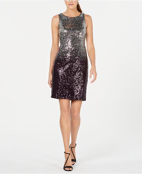 Calvin Klein Ombré Sequin Sheath Dress