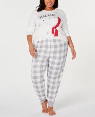 Matching Women's Plus Size Mama Bear Pajama Set, Created For Macy's