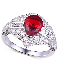 Ruby Cubic Zirconia Teardrop Ring in Sterling Silver
