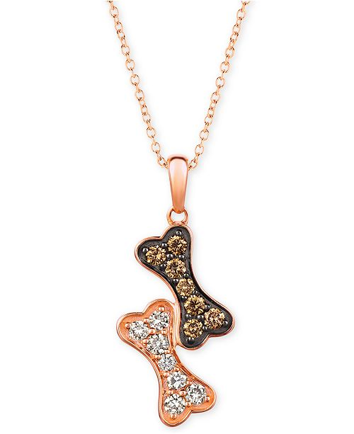 """Le Vian I Love Dogs Collection 20"""" Pendant Necklace (3/8 ct. t.w.) in 14k Rose Gold"""