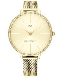 Tommy Hilfiger Women's Gold-Tone Mesh Bracelet Watch 38mm, Created For Macy's