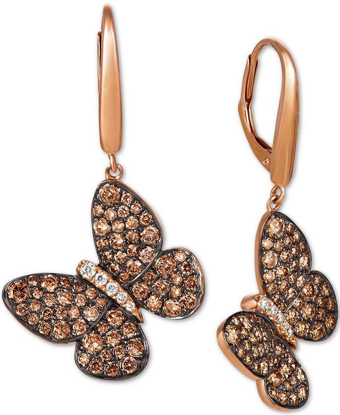 Le Vian - Chocolate Diamond (1-3/4 ct. t.w.) & Vanilla Diamond (1/10 ct. t.w.) Butterfly Drop Earrings in 14k Rose Gold