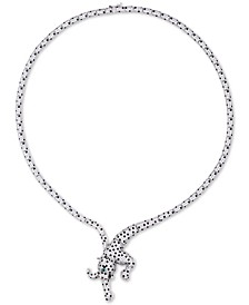 """Cubic Zirconia Panther 18"""" Frontal Necklace in Sterling Silver"""