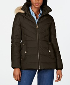 Michael Michael Kors Petite Hooded Faux-Fur-Trim Puffer Coat, Created For Macy's