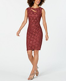 Sequined Lace Cutout Sheath Dress