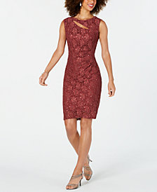 Connected Sequined Lace Cutout Sheath Dress