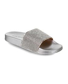 Olivia Miller Deltona Multi Rhinestone Pool Slide Sandals