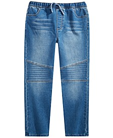 Big Boys Slim Straight Drawstring Waist New Moto Denim Pant