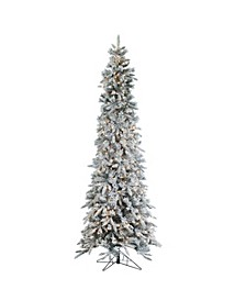 9Ft. Flocked Narrow Pencil Pine with 650 clear lights