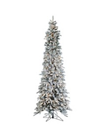 Sterling 9Ft. Flocked Narrow Pencil Pine with 650 clear lights