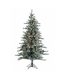6Ft. Lightly Flocked McKinley Pine with 350 clear lights