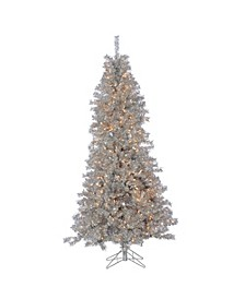 7.5Ft Silver Curly Tinsel Tree with 550 Clear Lights