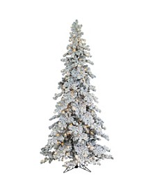 9Ft. Heavily Flocked Layered Spruce with 750 clear lights