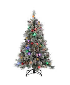 4.5Ft. Pre-Lit Flocked Hard Needle Pine with Ornaments and 50 G40 Multi-Colored LED Glass Bulbs
