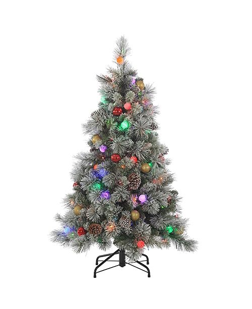 Sterling 4.5Ft. Pre-Lit Flocked Hard Needle Pine with Ornaments and 50 G40 Multi-Colored LED Glass Bulbs