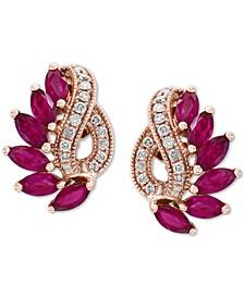 EFFY® Ruby (2-5/8 ct. t.w.) & Diamond (1/5 ct. t.w.) Stud Earrings in 14k Rose Gold
