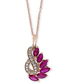 "EFFY® Ruby (2 ct. t.w.) & Diamond (1/5 ct. t.w.) 18"" Pendant Necklace in 14k Rose Gold"