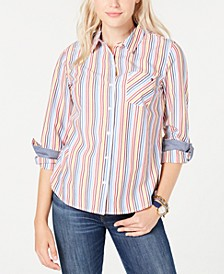 Cotton Striped Roll-Tab Blouse