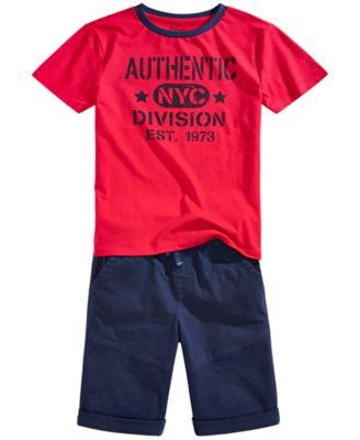 Big Boys Stretch Twill Drawstring Moto Shorts, Created for Macy's