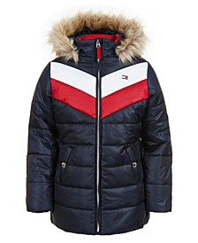 Little Girls Quilted Colorblocked Jacket With Faux-Fur Trim