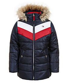 Tommy Hilfiger Toddler Girls Quilted Colorblocked Jacket With Faux-Fur Trim