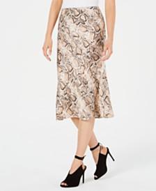 Lucy Paris Snake-Print Midi Skirt