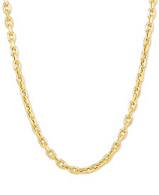 "Italian Gold Rolo Link 22"" Chain Necklace in 10k Gold"