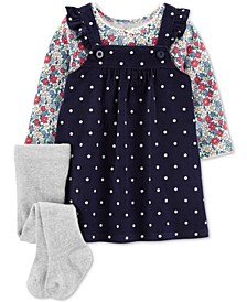 Baby Girls 3-Pc. Floral-Print T-Shirt, Dot-Print Corduroy Jumper & Footed Tights Set