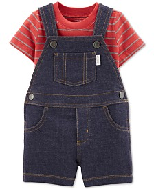 Carter's Baby Boys 2-Pc. Cotton Striped T-Shirt & Denim Shortalls Set