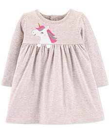 Baby Girls Striped Unicorn Cotton Dress