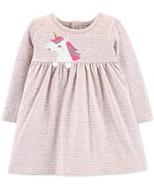 Baby Girls Striped Unicorn Cotton Dress