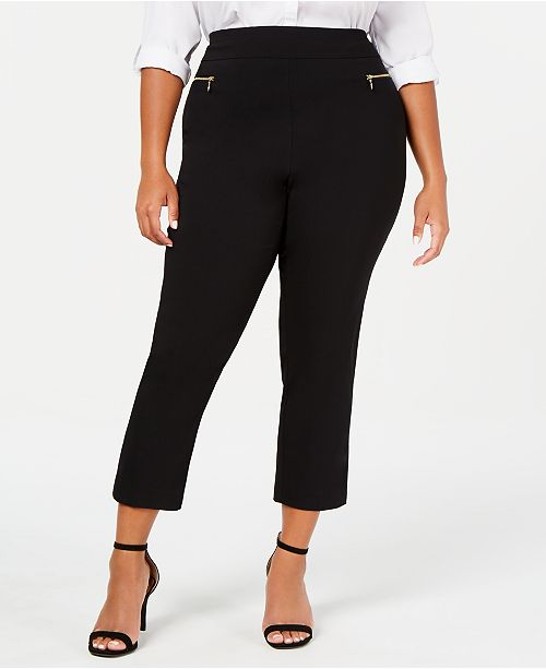 INC International Concepts INC Plus Size O-Ring Skinny Ankle Pants, Created for Macy's