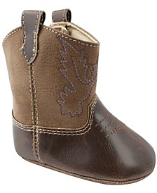 Baby Unisex Textured PU Western Boot with Embroidery and Piping