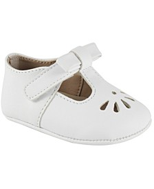 Baby Girl Soft Leather-Like T-Strap with Bow and Perforation