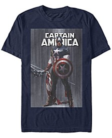 Men's Comic Collection Captain America With Standing Flag Short Sleeve T-Shirt