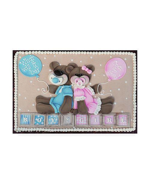 "Trademark Global Sugar High Bear Boy Girl Gender Reveal Canvas Art - 36.5"" x 48"""