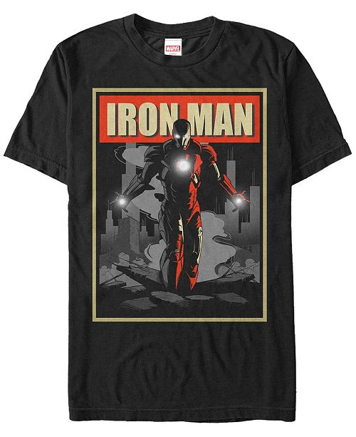 Marvel Men's Comic Collection Vintage Iron Man Poster Short Sleeve T-Shirt