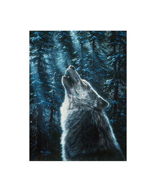 "Trademark Global R W Hedge Moonlight Wolf Canvas Art - 19.5"" x 26"""
