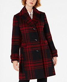 Single-Breasted Plaid Coat, Created for Macys