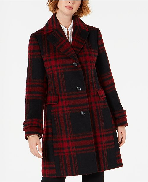 Vince Camuto Single-Breasted Plaid Coat, Created for Macys